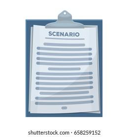 Scenario.Making movie single icon in cartoon style vector symbol stock illustration .