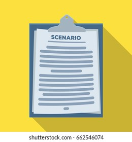 Scenario.Making movie single icon in flat style vector symbol stock illustration web.