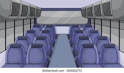 Scene in airplane with blue seats illustration