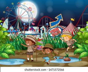 Scene background design with children at funfair at night illustration