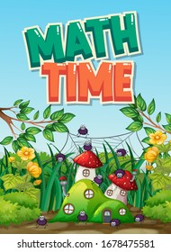 Scene background design with word math time in the garden illustration