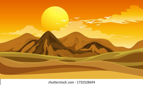 Scene with big field at sunset illustration