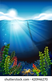 Scene with blue sea and underwater illustration
