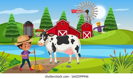 Scene with boy and cow on the farm illustration