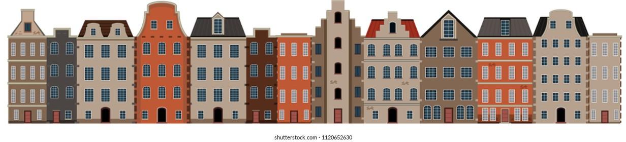 Scene of building streetscape illustration