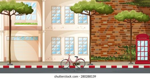 Scene of buildings along the street