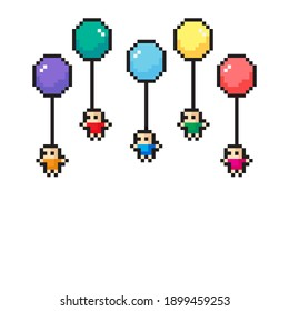 Scene character pixel art. Vector illustration. People floating with a balloon.
