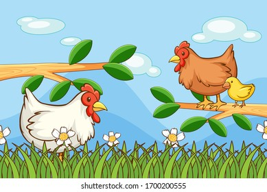 Scene with chickens in the garden illustration