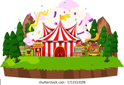 Scene with circus tent and animals in the park illustration
