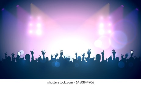 Scene, crowd of fans, rock concert, music festival, night club