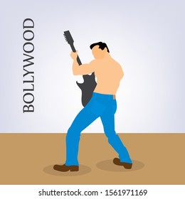 A scene depicting bollywood actor performing bollywood styled dance with a guitar in hand.