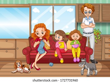 Scene with family having a good time at home illustration