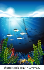 Scene with fish swimming underwater illustration