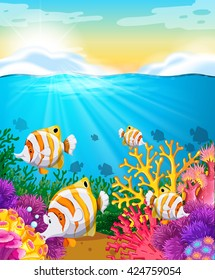 Scene with fish under the ocean illustration