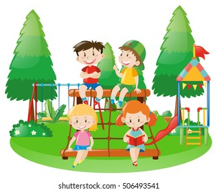 Scene with four kids on climbing station illustration