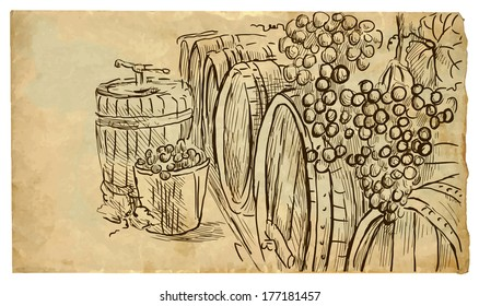 The scene of France culture: Wine Cellar. Vector hand drawn illustration (drawings on vintage paper in the bottom layer).