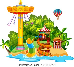 Scene with giant swing and waterslide on the island illustration