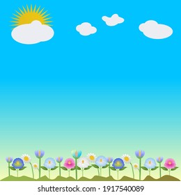A scene with green mounds, clouds,  sky and spring flowers with copy space