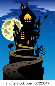Scene with Halloween mansion 2 - vector illustration.