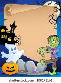 Scene with Halloween parchment 3 - vector illustration.