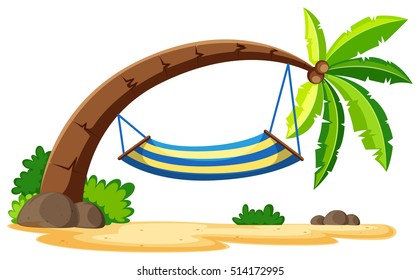 Scene with hammock on coconut tree illustration