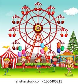 Szene mit glücklichen Kindern, die in der Zirkus-Park-Illustration spielen