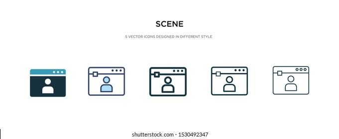scene icon in different style vector illustration. two colored and black scene vector icons designed in filled, outline, line and stroke style can be used for web, mobile, ui