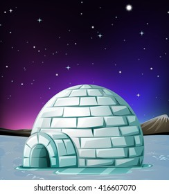 Scene with igloo at night illustration