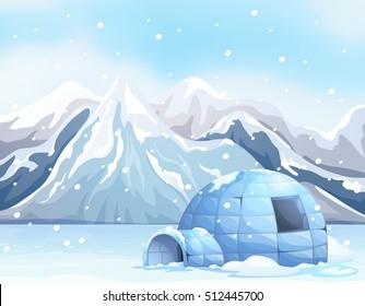 Scene with igloo on snow ground illustration
