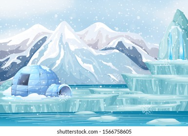 Scene with igloo in the snow mountain illustration