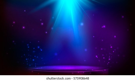 The scene is illuminated with blue light. Vector illustration