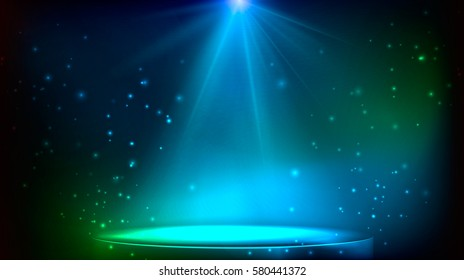 Scene illuminated by a spotlight. magical stage in blue and green colors. vector illustration