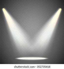 Scene illumination from above, transparent effects on a plaid dark  background. Bright lighting with spotlights.
