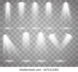Scene illumination big collection, transparent effects. Spot lighting of the stage.