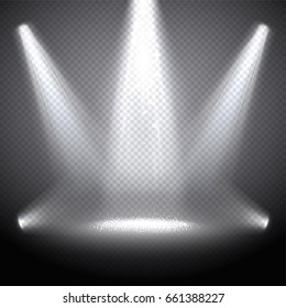 Scene illumination with bright rays, transparent effects on a pl
