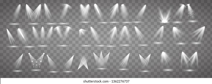 Scene illumination collection. Big set Bright lighting with spotlights. Spot lighting of the stage.