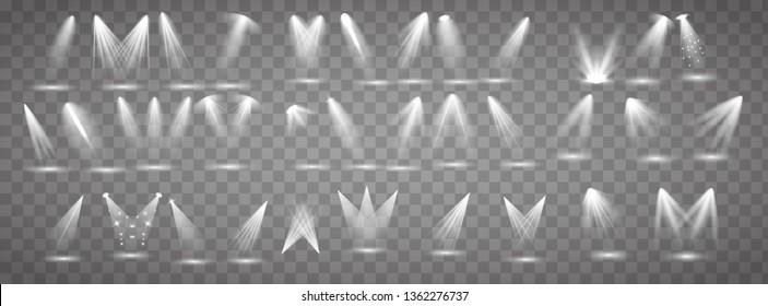 Коллекция освещения сцены. Большой набор Яркое освещение с прожекторами. Точечное освещение сцены.