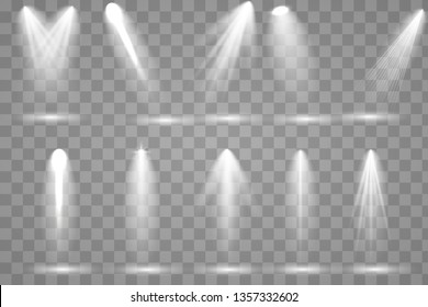 Scene illumination collection. Bright lighting with spotlights. Spot lighting of the stage,