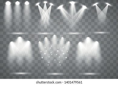Scene illumination collection. Bright lighting with spotlights. Spot lighting of the stage. Vector illustration EPS10.