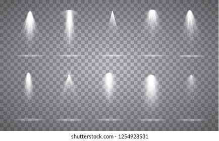 Scene illumination collection, transparent effects. Bright lighting with spotlights.