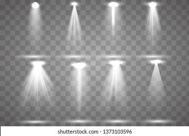 Scene illumination collection, transparent effects. Bright lighting with spotlights. Vector illustration eps10.