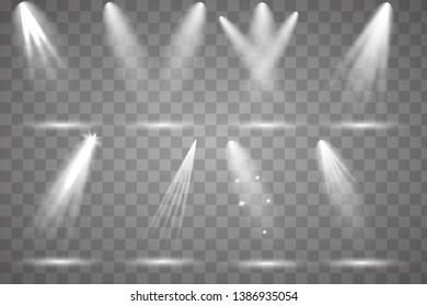 Scene illumination collection, transparent effects. vector light sources, concert lighting, stage spotlights set. Concert spotlight with beam, illuminated spotlights for web design illustration.