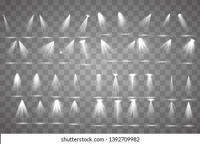 Scene illumination collection, transparent effects. Bright lighting with spotlights. illuminated spotlights for web design illustration.
