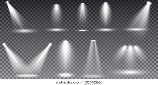 Scene illumination collection, transparent special effects. Bright lighting with spotlights.