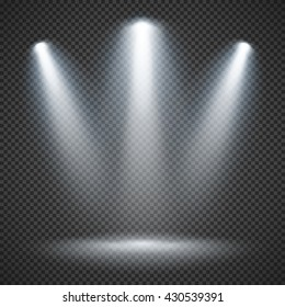 Scene illumination effects on checkered transparent background with bright lighting of spotlights