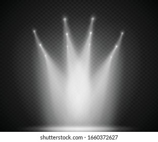 Scene illumination light, vector transparent flash light effect, sunlight special lens. Bright gold flashes and lighting with spotlights. Spot lighting of the stage.
