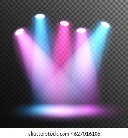 Scene illumination. Stage. Spotlight disco. Colorful light. Floodlights illuminate the scene. Transparent background.