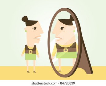 A scene illustrating body dysmorphic disorder where a woman is seeing herself at a heavier weight than she actually is.