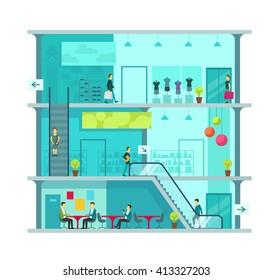 Scene inside shopping mall vector illustration