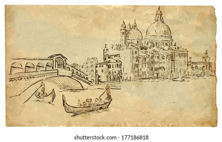 The scene of Italian culture: Venice. Vector hand drawn illustration (drawings on vintage paper in the bottom layer).